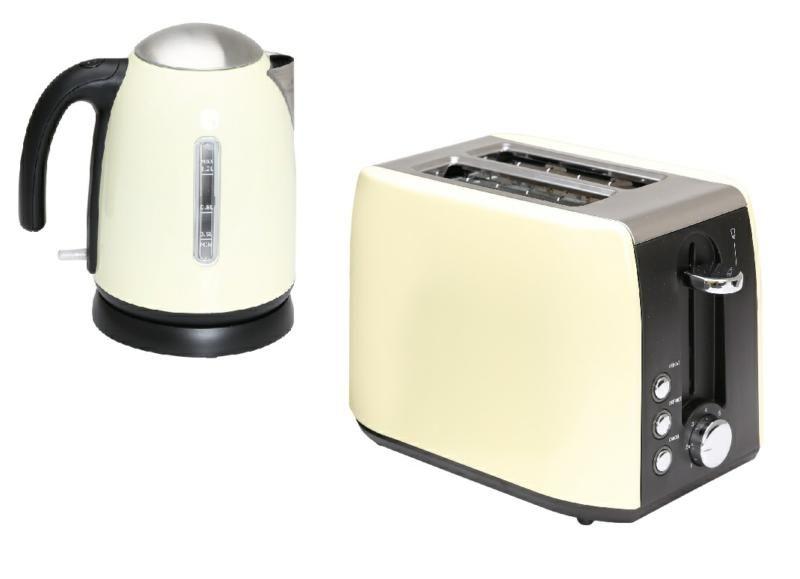 Quest Cream 1.2l Kettle & Cream 2 Slice Toaster